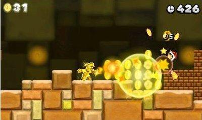 Ein goldener Mario sammelt Boni ein.