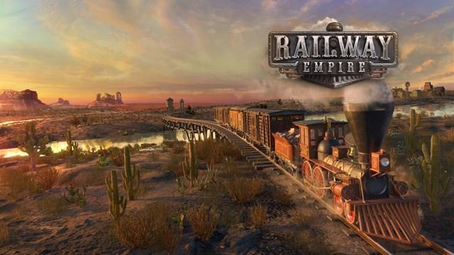 Titelbild des Spiels - Eine Dampflok fährt durch eine amerikanische Landschaft