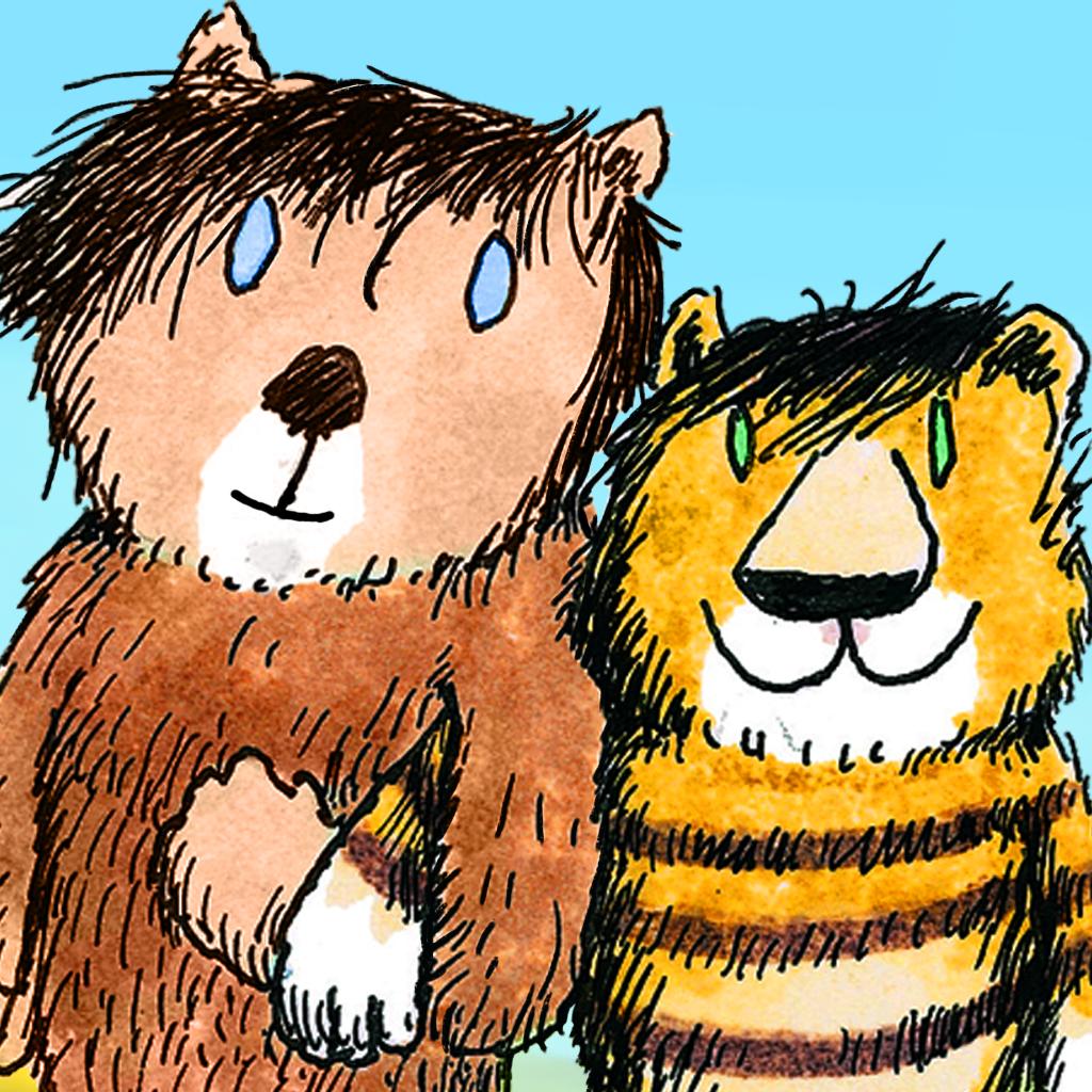 App-Logo: Ein gezeichneter humanoider Bär und ein gezeicheichneter humanoider Tiger stehen Arm in Arm vor einem blauen Hintergrund