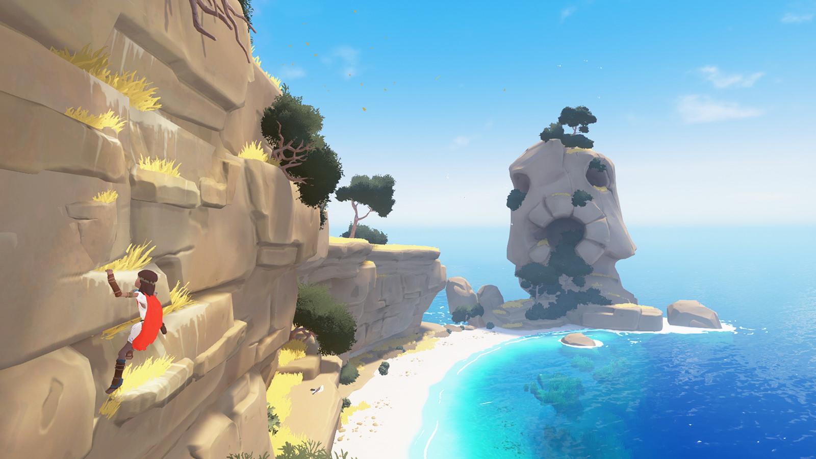 Screenshot: Kleiner Bub klettert einen Felsen hoch