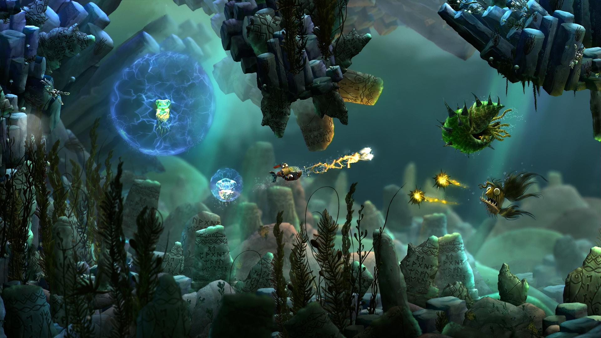 Screenshot: 2D Unterwasserlandschaft; ein kleines U-Boot schießt einen Blitz auf ein bedrohlich aussehendes Unterwasserwesen während es von einem Anderen mit leuchtenden Stachelbällen attackiert wird.
