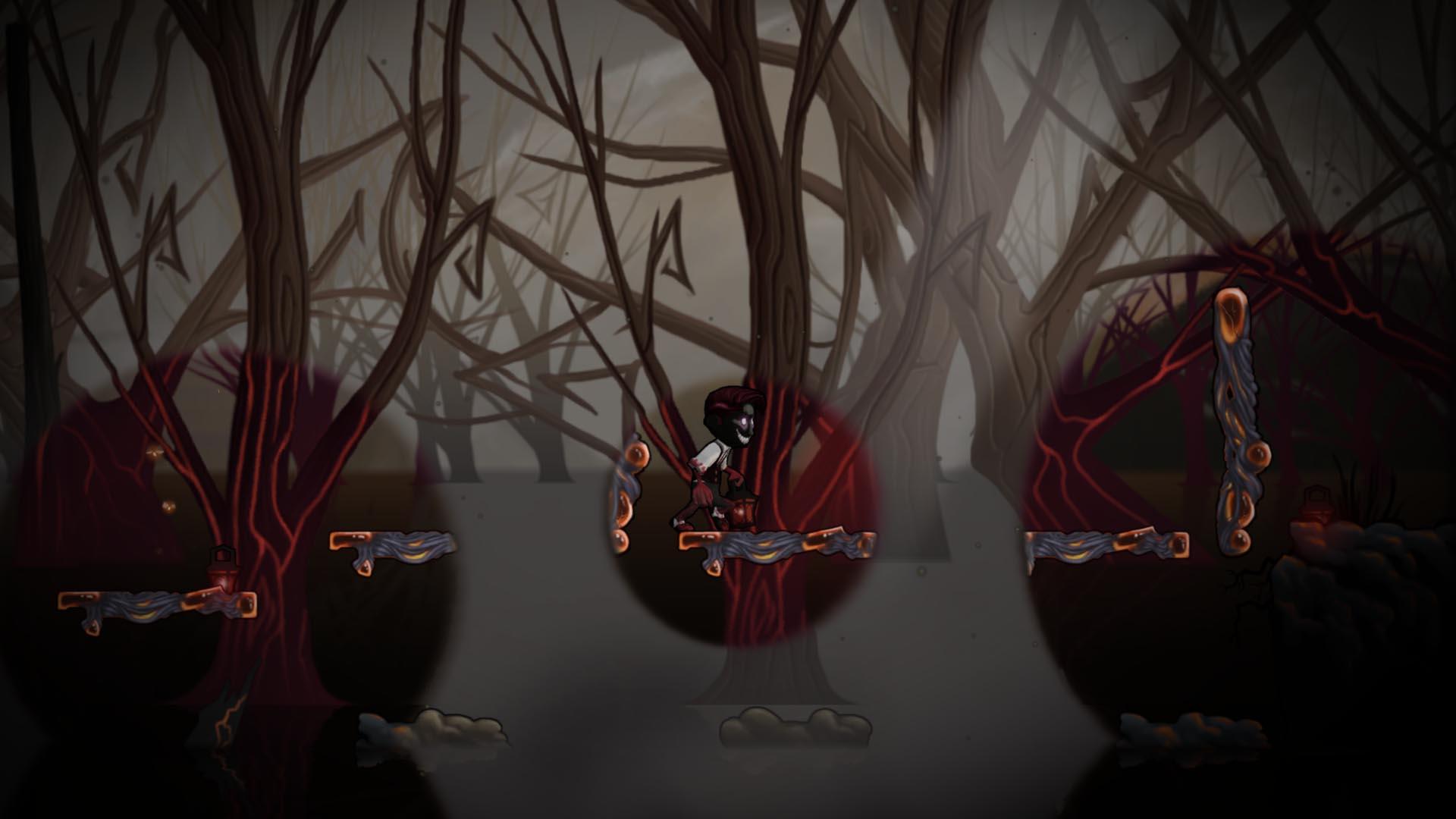 Der Hauptcharakter hält eine rot leuchtende Laterne, dessen Licht ihn verändert und mit einer dämonischen Fratze darstellt.