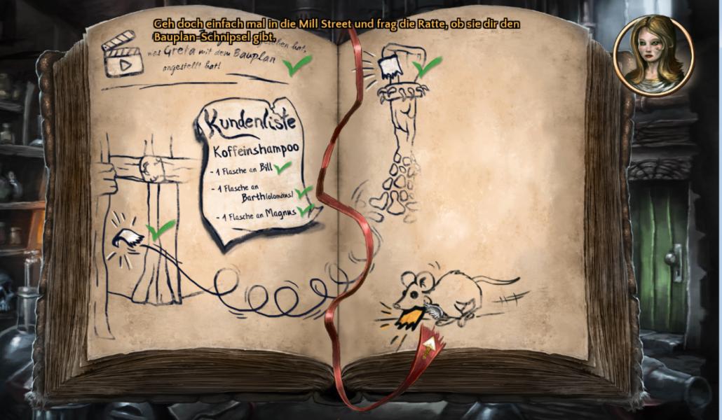 Screenshot: Notizbuch des Engels mit Tipps und Zeichnungen.
