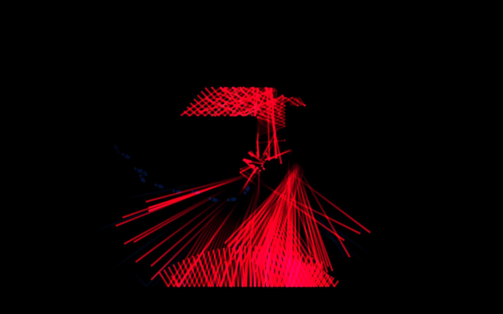 Screenshot: Ein Monster hat Spielfigur erwischt, Blutdarstellung wird mit rotem Schall symbolisiert.