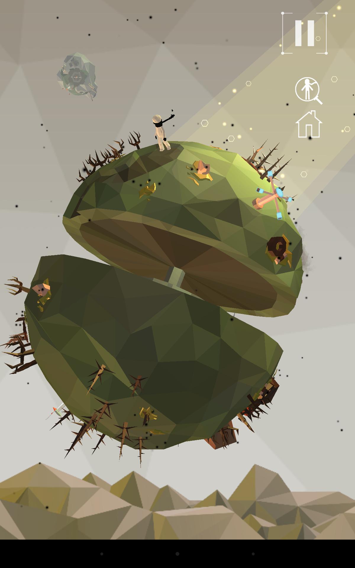 Screenshot: Mit einem Mechanismus wird ein kleiner Planet geteilt und gedreht.