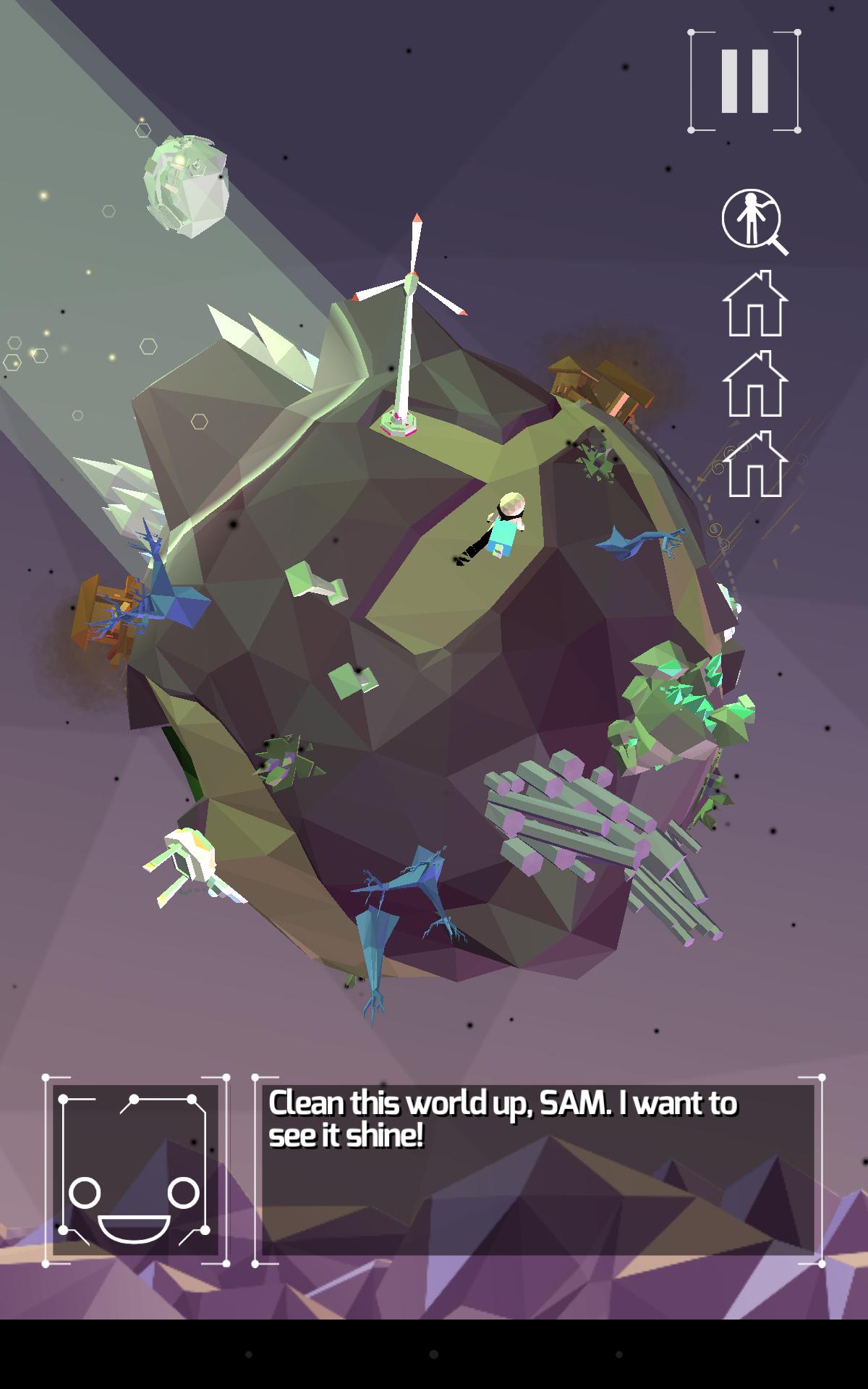 Screenshot: Der Androide Sam befindet sich auf einem düsteren Planeten mit einem Windrad.