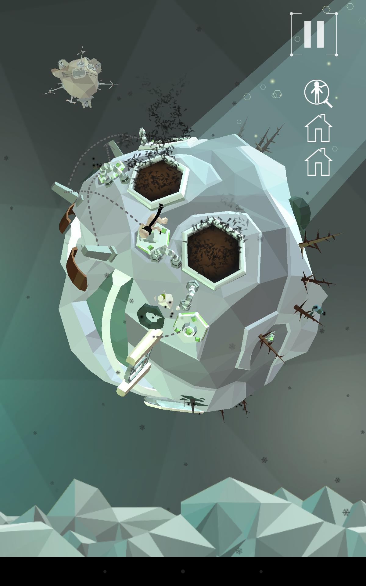 Screenshot: Sam bedient auf einem kleinen Planeten einen Mechanismus. Daneben sind Löcher aus denen schwarzer Rauch hinaus kommt.