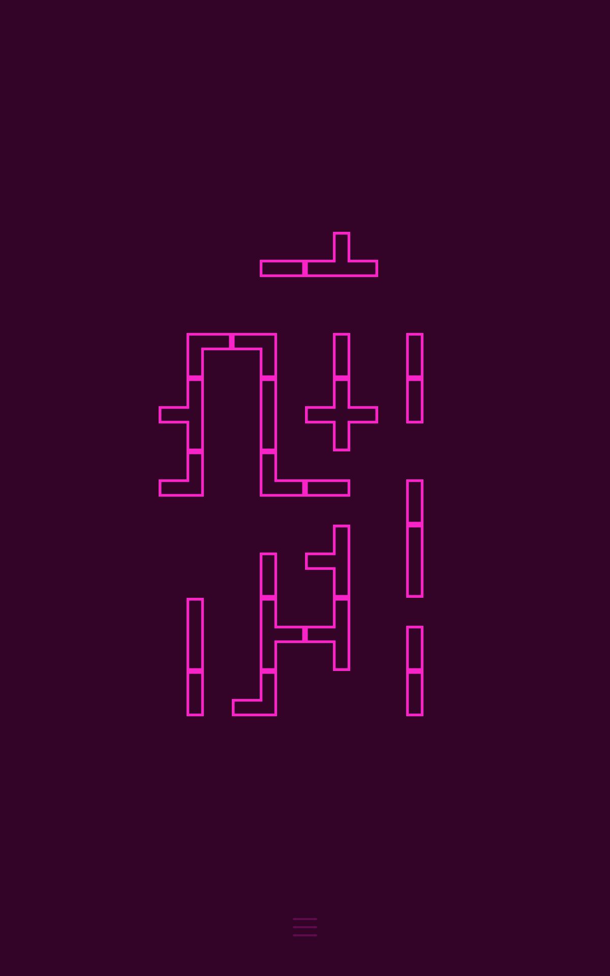 Screenshot:  Mehrere verbundene, teils nicht verbundene geometrische Figuren auf einfärbigem Hintergrund