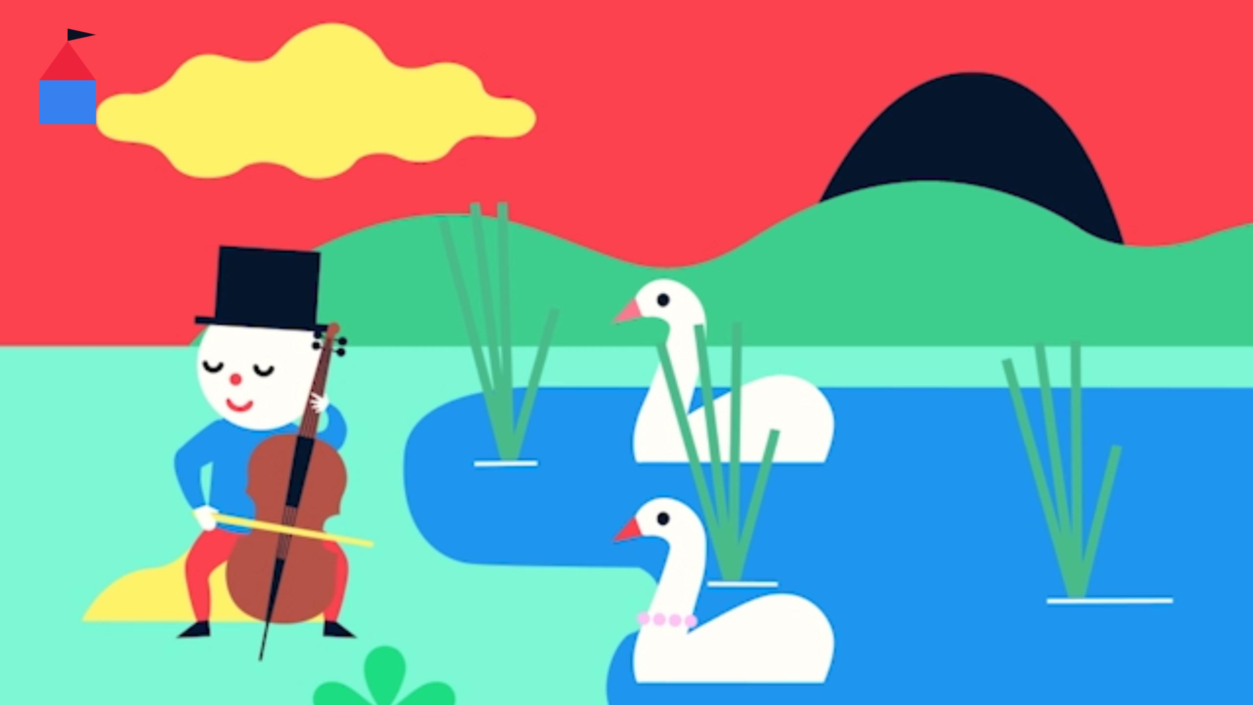 Screenshot: Teku spielt neben einem See mit zwei Schänen auf einem Chello.