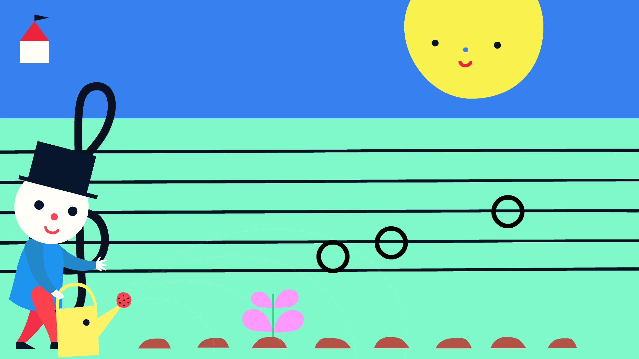 Screeshot: Teko gießt Blumen, die zu Noten auf einer Tonleiter heranwachsen.