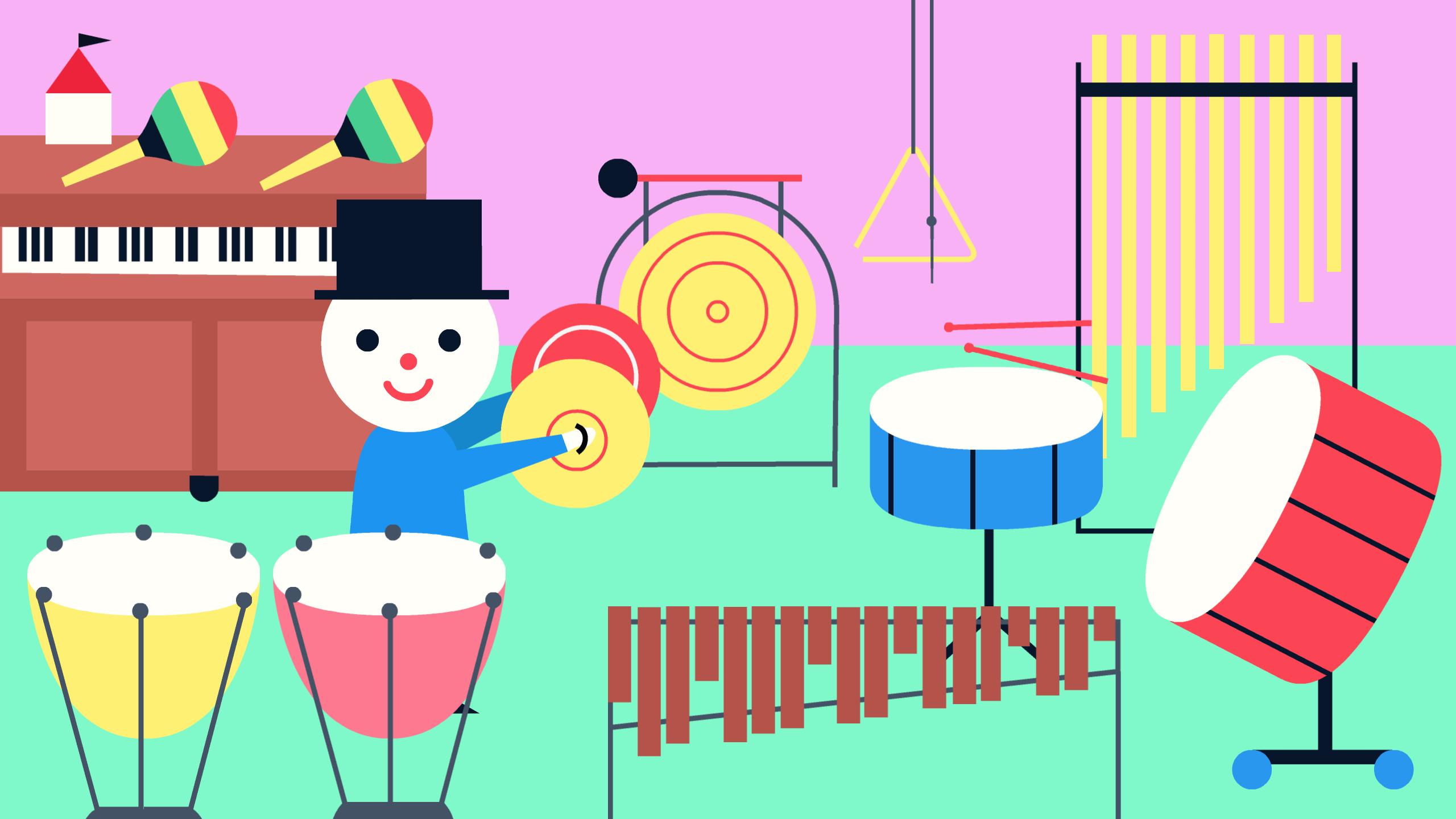 Screenshot: In der Szene sind verschiedene Klanginstrumente aufgebaut. Teku hält zwei Becken in den Händen.