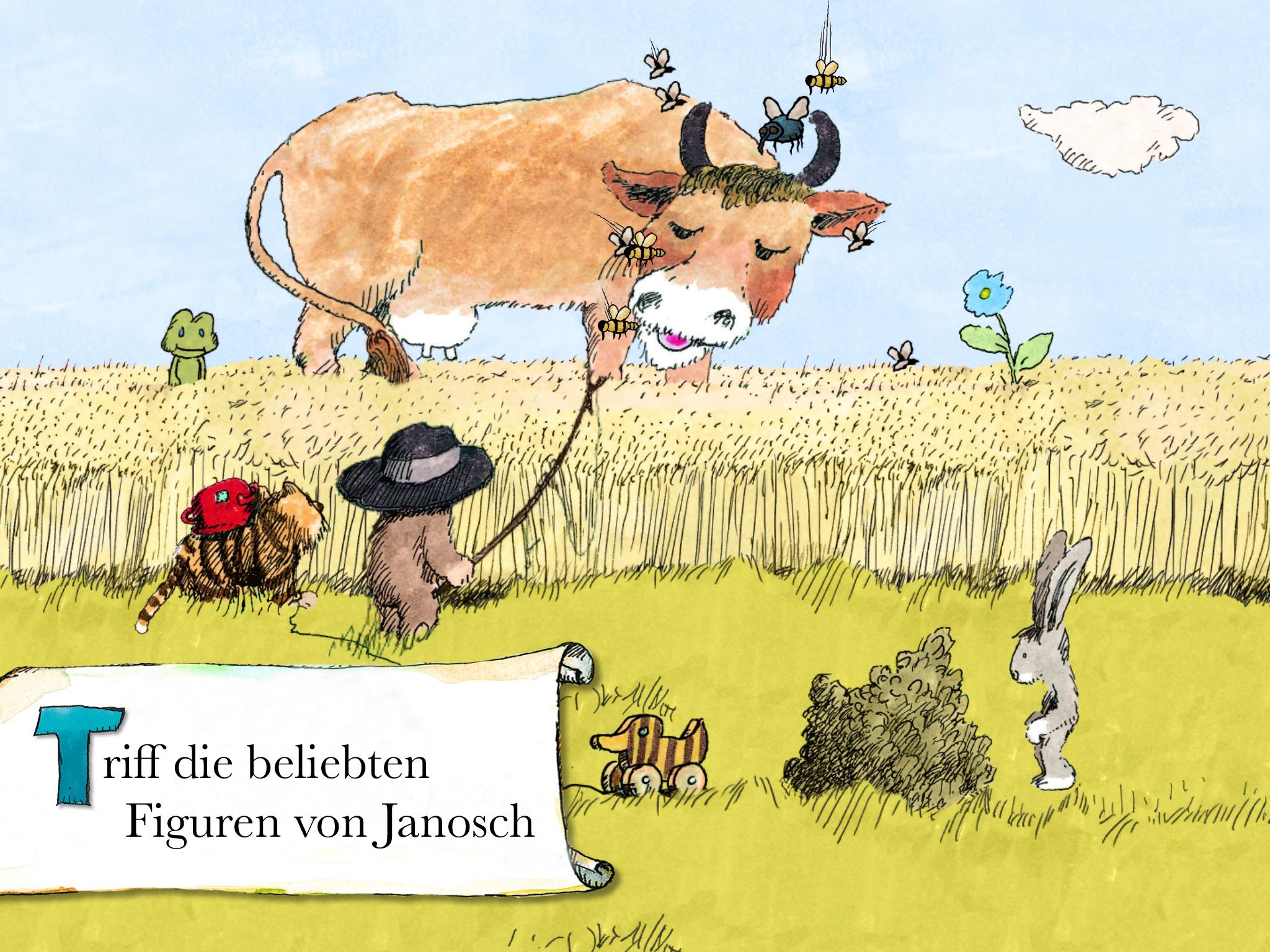 """Screenshot: Gezeichnete Szene, in der der kleine Tiger und Bär vor einem Weizenfeld stehen, in dem eine große Kuh steht. Diverse andere Figuren wie ein Frosch, Hase und die Tigerente sind ebenfalls im Bild. Links unten steht """"Triff die beliebten Figuren von Janosch"""""""