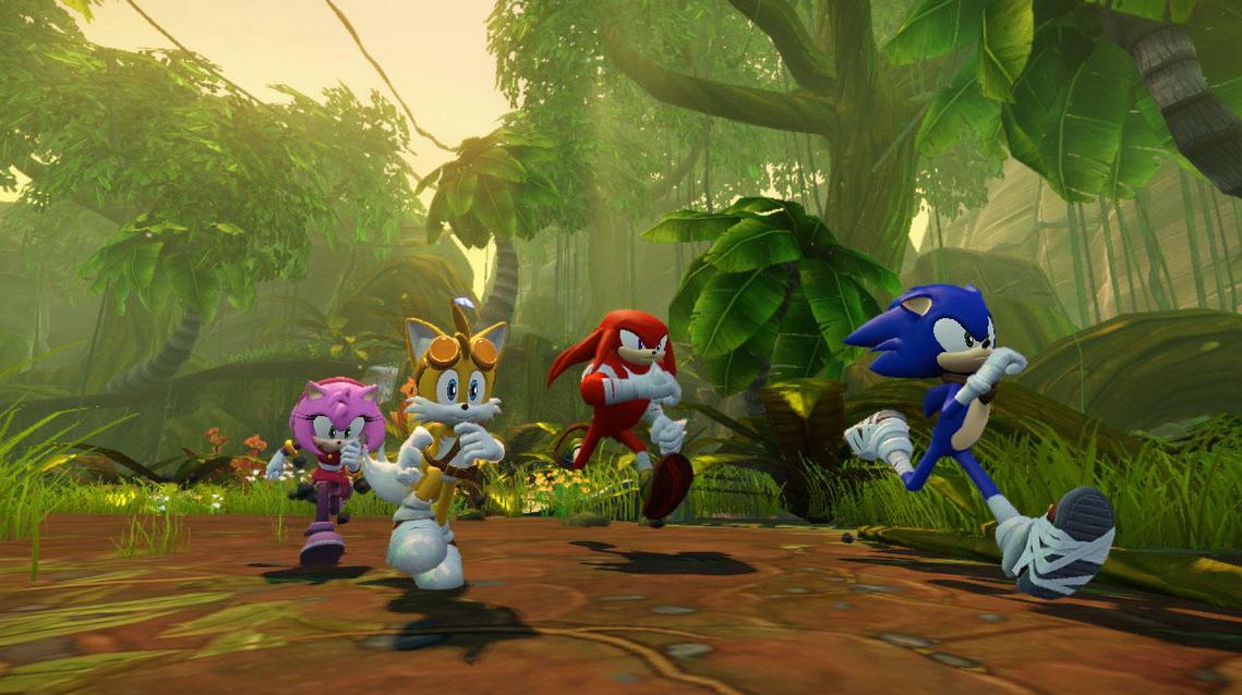Sonic und seine Freunde im Wald.