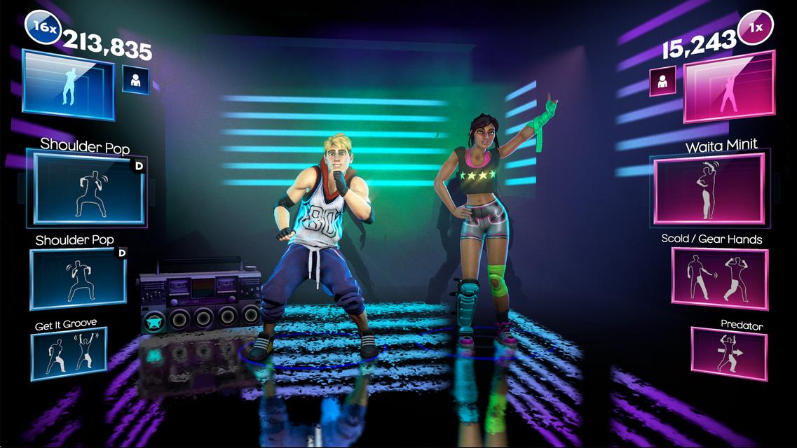 Das Bild zeigt zwei Tanzende. Neben ihnen sind die Punktewertungen angezeigt.