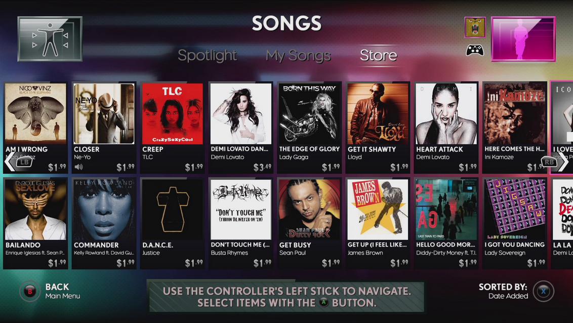Das Bild zeigt den Store in dem weitere Lieder gekauft werden können.