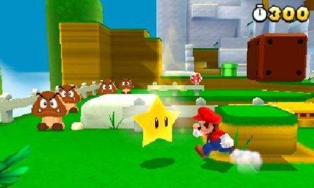 Mario läuft durch eine grüne 3D Landschaft.
