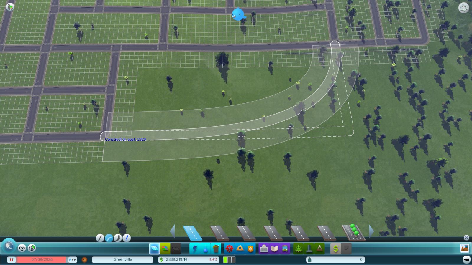 Straßenbau auf leerer Landschaft