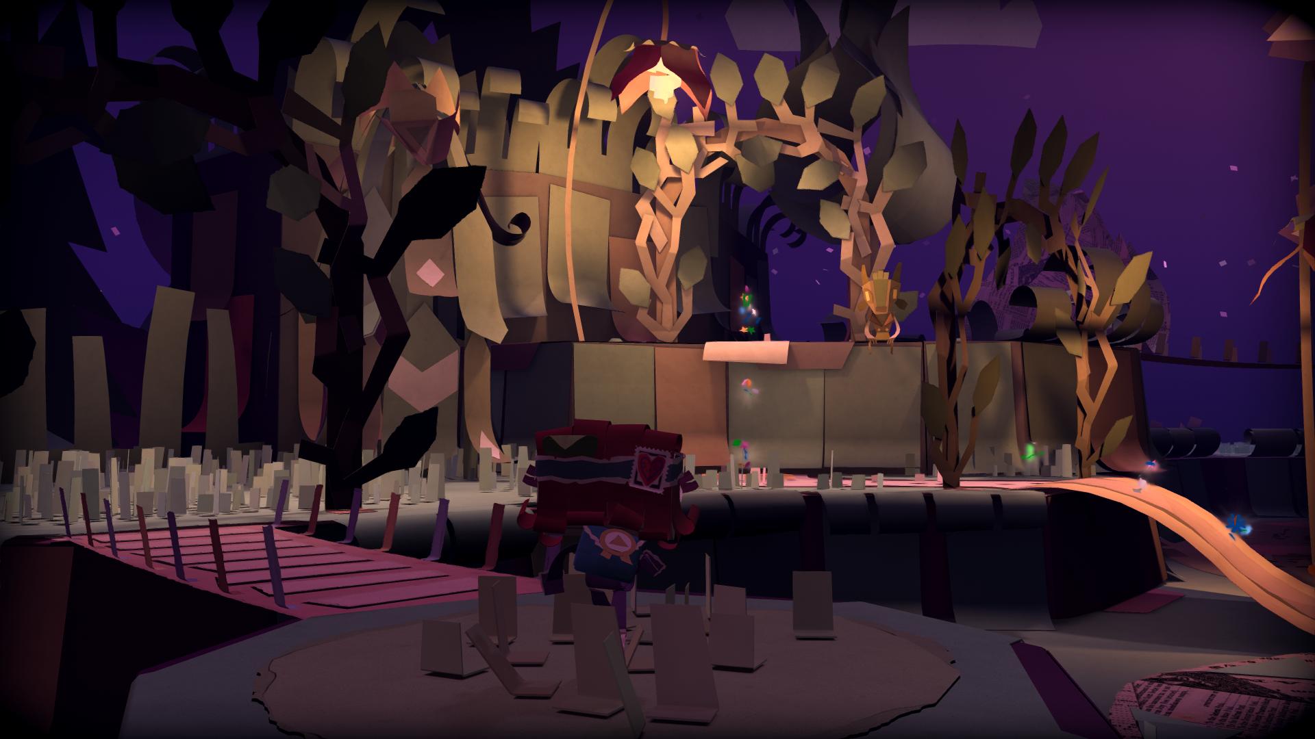 Screenshot: nächtliche Papierwelt