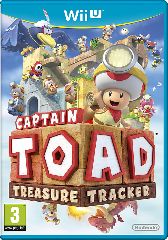 Cover vom Spiel mit Toad, dem Pilz aus der Super Mario-Serie, der wie ein Abenteurer angezogen ist, auf einer fliegenden Insel mit anderen Charakteren aus dem Spiel.
