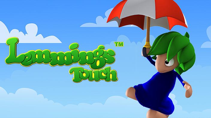 """ein für das Spiel typischer """"Lemming"""" mit grünen Haaren an einem rot-weißen Regenschirm"""