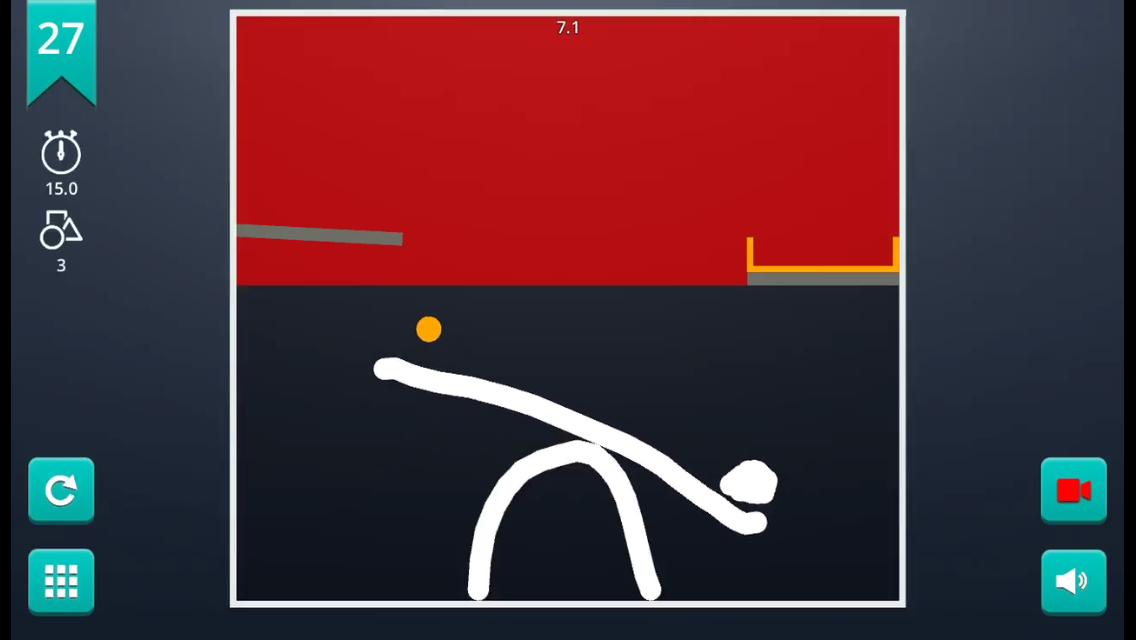 Screenshot: Eine selbst gezeichnete Wippe mit einer orangen Kugel.
