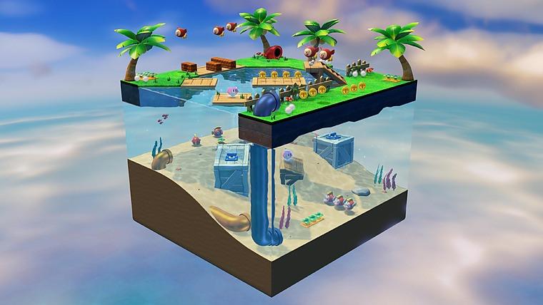 Eine fliegende Aquariumwelt mit Fischen, Palmen etc.
