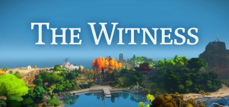 """Cover: Ansicht einer kleinen Insel mit verschiedenen Pflanzen und diversen Gebäuden. Darüber steht in weißer Schrift """"The Witness"""""""