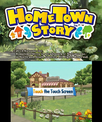 """oberer Screen: """"Hometown Story"""" Schriftzug; unterer Screen: Landschaft und Haus"""