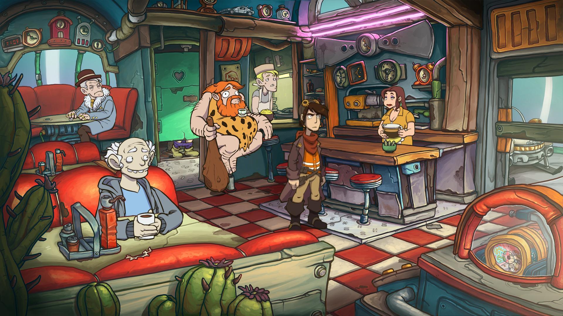 Screenshot: Der Hauptcharakter Rufus steht in einem Cafe im amerikanischen Stil. Neben anderen Gästen sitzt Im Hintergrund ein Steinzeitmensch mit einem Kaffee.