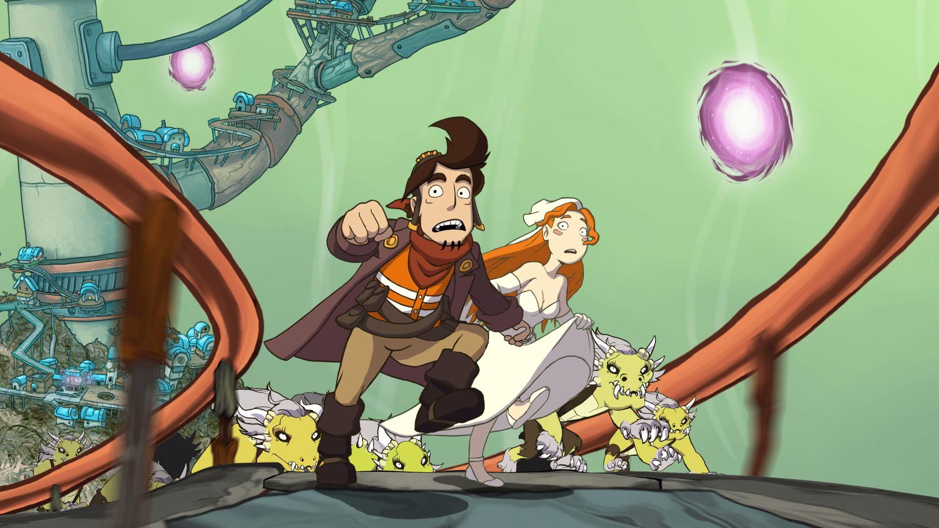 Screenshot: Der Hauptcharakter Rufus läuft Hand in Hand mit Goal, die ein Hochzeitskleid trägt. Die beiden werden von Dinosaurierartigen Wesen verfolgt.