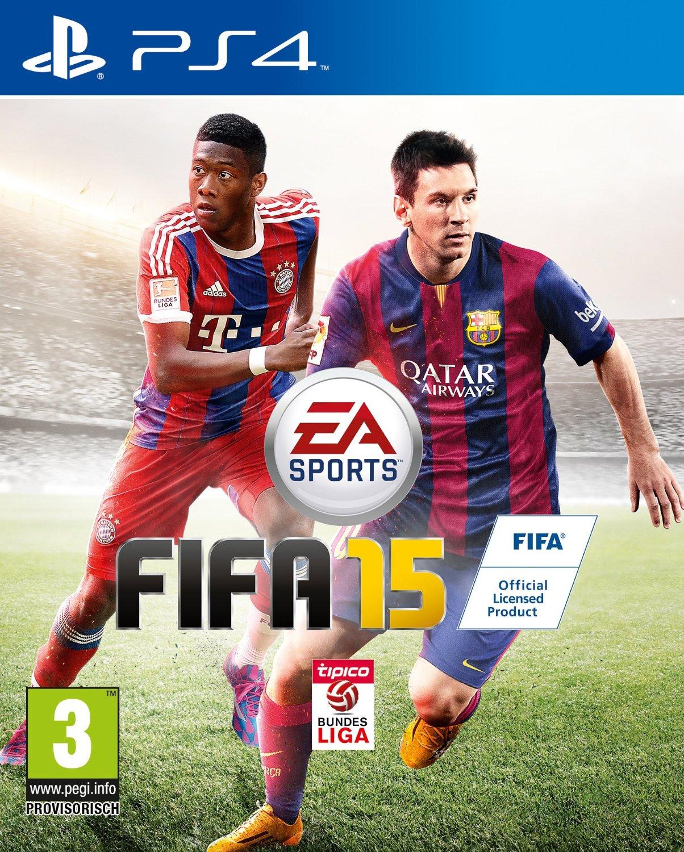 Cover von Fifa 15 mit David Alaba und Lionel Messi in Spielerpose