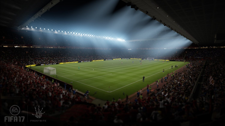 Stadion von der Ecke aus betrachtet bei Nacht mit Flutlicht