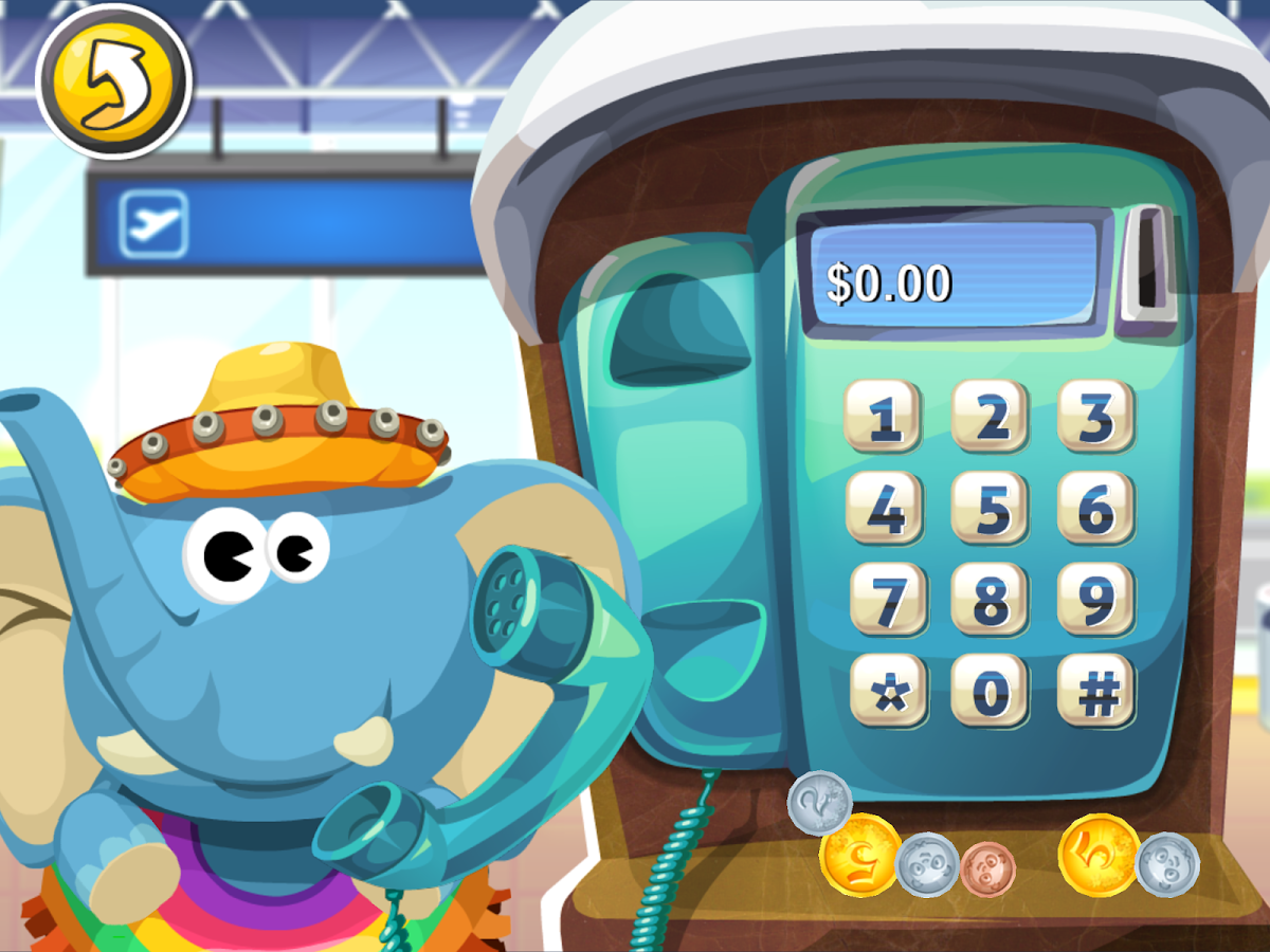 Screenshot: ein Elefant benutzt ein Münztelefon