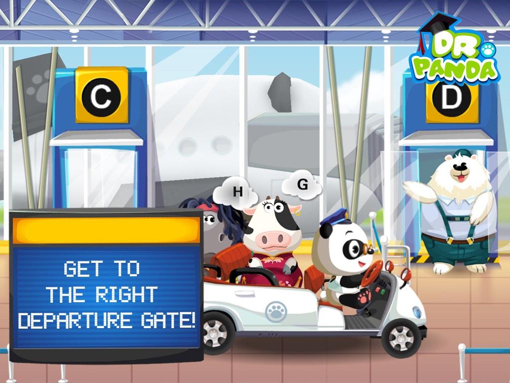 Screenshot: ein Panda kutschiert die Tiere zum gewünschten Gate