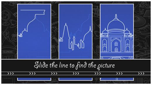 Auf blauem Hintergrund ist das Taj Mahal gezeichnet, das die Spielenden mit den Linien nachziehen müssen.