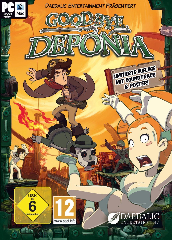 """Cover von """"Goodbye Deponia"""". Actionreiche Szene mit den Hauptfiguren."""