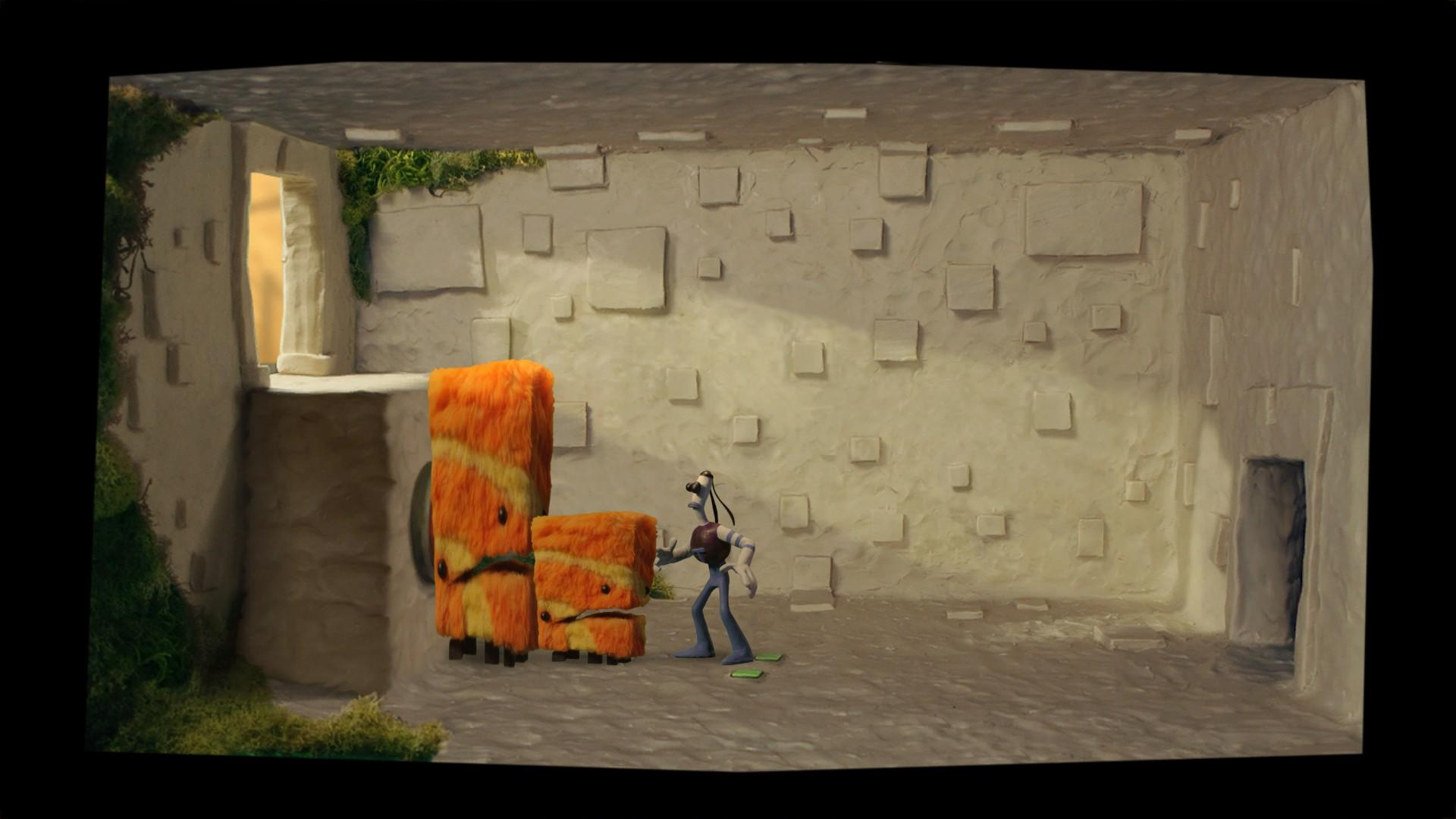 """Screenshot: """"Tommynaut"""" steht vor zwei behaarten, fiktiven Tieren in einem karg ausgestattetem Raum"""