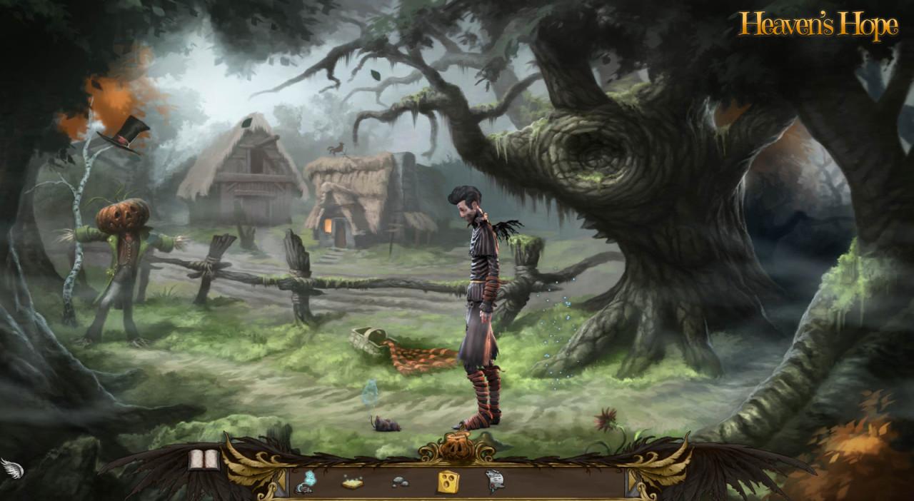 Screenshot: Ein Engel steht mit einer toten Maus, deren Seele an ihrem Schwanz baumelt, auf einem Feld.