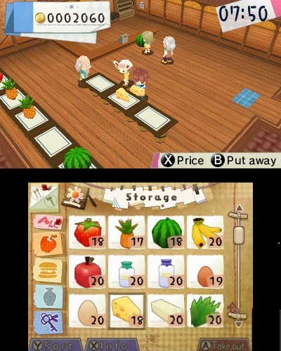 oberer Screen: Einkaufs-Laden; unterer Screen: Warensortiment