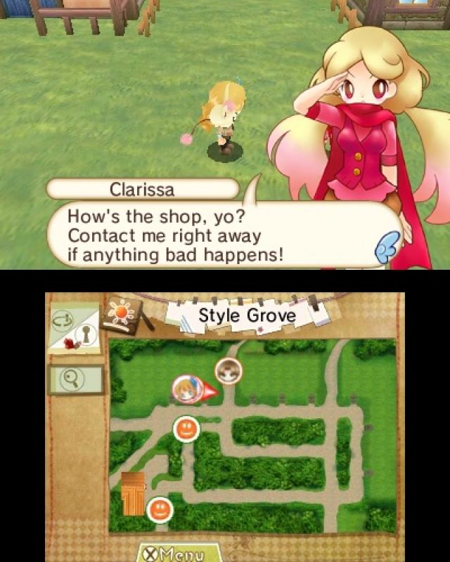 Screen oben: ein blondes Mädchen salutiert und sagt, man solle es kontaktieren, wenn etwas Schlechtes passiert; unterer Screen: Landkarte