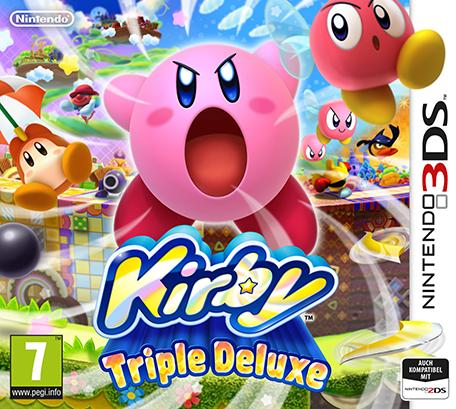 """Cover von """"Kirby: Triple Deluxe"""" mit einer runden, rosafarbenen Spielfigur"""