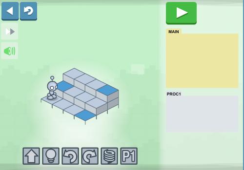 Screenshot: Der Roboter steht vor zwei Treppen