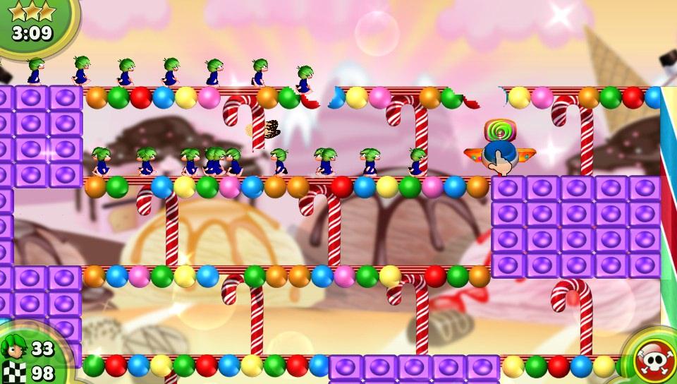 Lemminge in einer Süßigkeiten-Welt