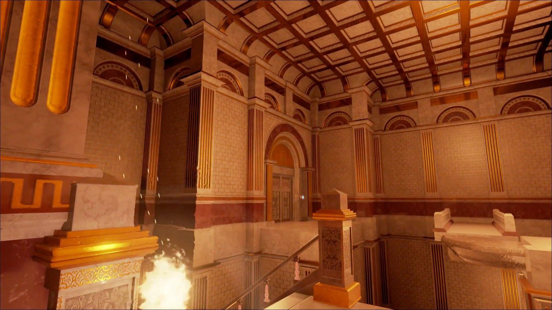 Screenshot: Rätselhafter feuriger Raum