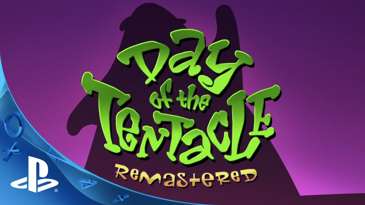 "Cover: ""Day of the Tentacle Remastered"" in Graffiti-Schrift"