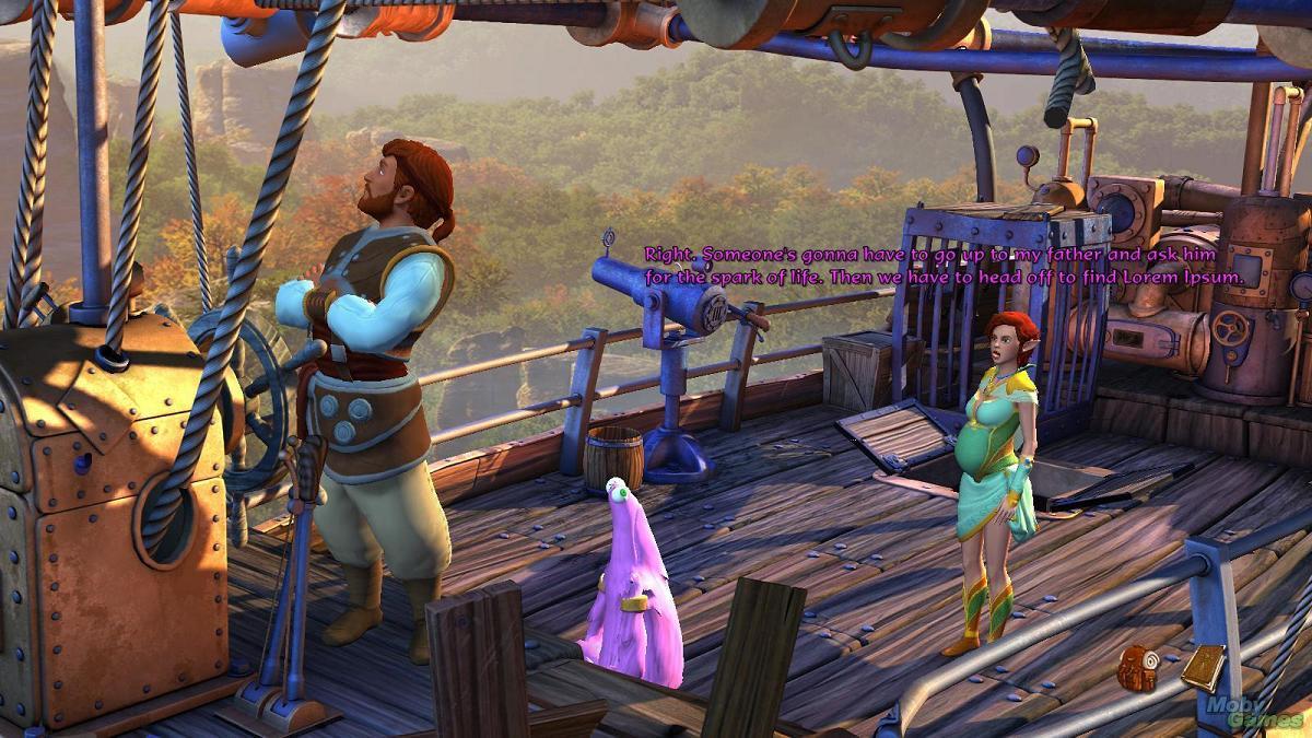 """Ivo, Nate und das """"Vieh"""" stehen an Deck eines schwebenden Schiffs"""