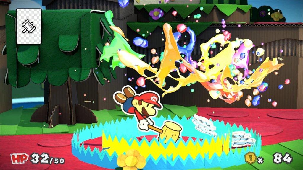 Screenshot: Mario setzt seinen Farbhammer ein