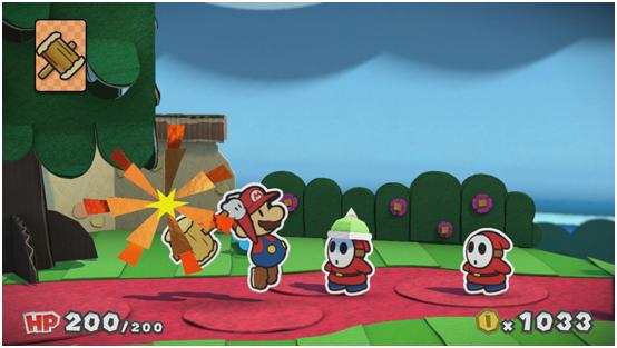 Screenshot: Mario kämpft mit seinem Hammer gegen Gegner