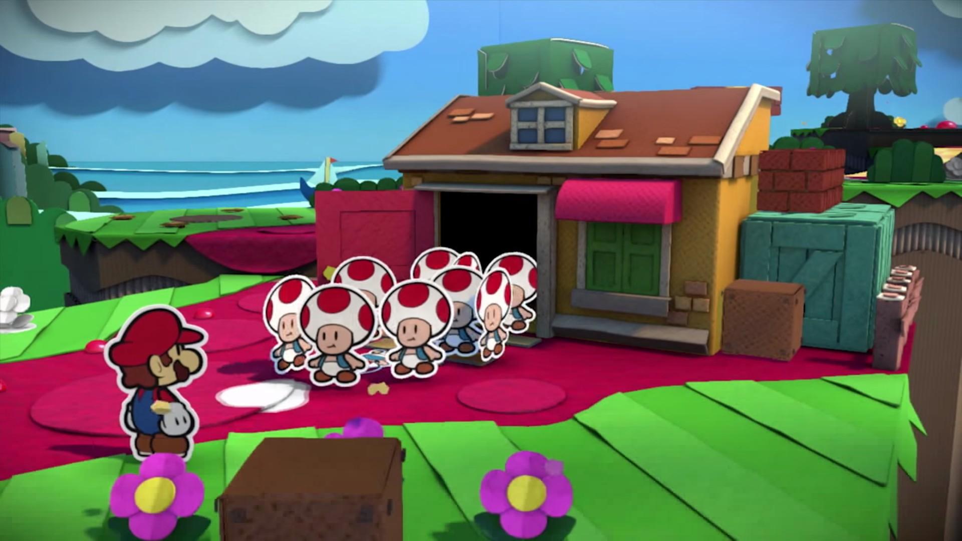Screenshot: viele Toad kommen aus einem Haus.