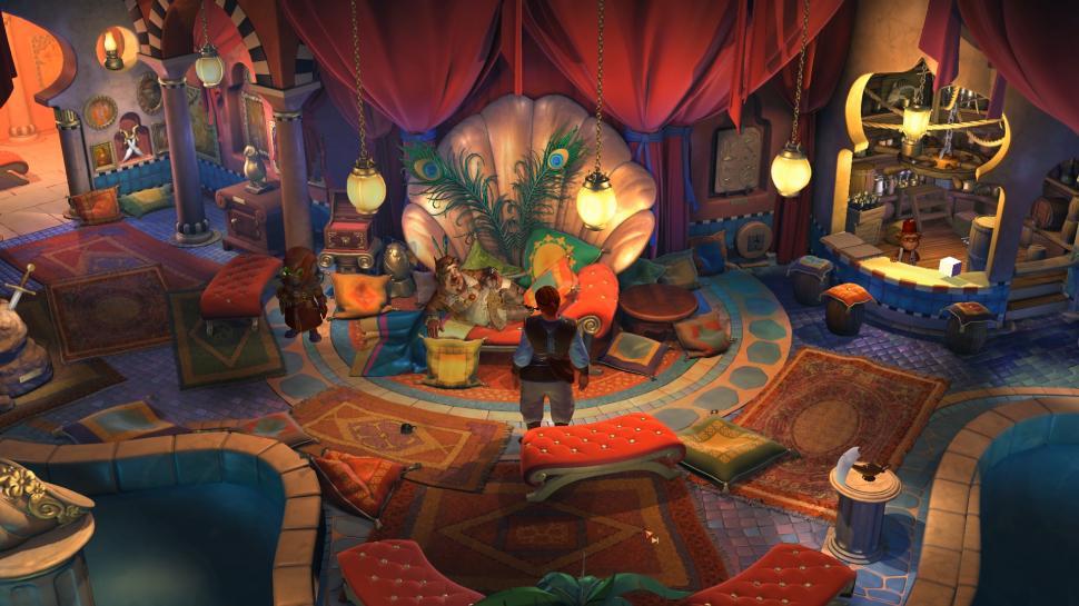 Nate steht vor einem auf einem Sofa liegenden Mann in einer orientalisch anmutenden Bar
